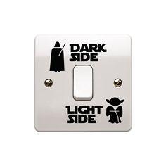 """Set di Star Wars Interruttore luce adesivo vinilico art adesivi """"chiaro/scuro lato Bambino Interruttore luce della stanza vinile nero 2,5 cm x 5,5 cm.. UKSELLINGSUPPLIERS: Amazon.it: Casa e cucina"""