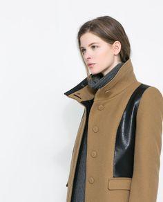 :: Combined Faux Leather Coat   Zara ::