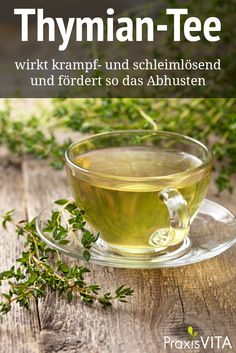 cup of thyme tea, fresh thyme on the old wooden background Herbal Tea Benefits, Herbal Teas, Health Benefits, Thyme Tea, Tea Packaging, Garden Pictures, Tea Recipes, Kraut, Allrecipes