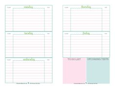 Free printable student planner, designed to help middle and high school students keep track of assignments, up coming tests, and things they need to do.   ScatteredSquirrel.com