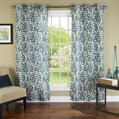 Ikat Plume Poly Linen Textured Cloth Grommet Curtain Panel Pair.jpg
