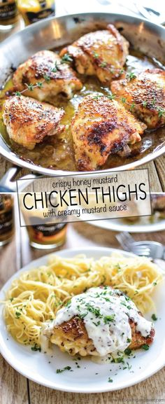 Crispy Honey Mustard Chicken Thighs with Creamy Mustard Sauce - Comfort food to the max! It's a weeknight meal that's simple AND delicious! by janet