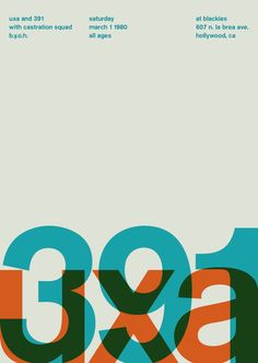 Swiss poster Uxa and 391. Berthold Akzidenz-Grotesk font.