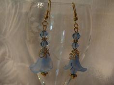 Blue Flower Earrings on Gold Hooks