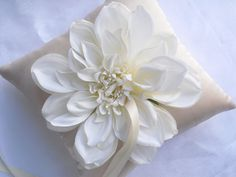 Ivory Silk Flower Bloom with Champagne Satin Ring