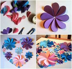 how to make paper artwork step by step colored paper flowers How do I create paper images? Step by step colored paper flowers Legend paper butterflies DIY step by stepOther crafting ideas for pine cones images) Paper Flower Wreaths, How To Make Paper Flowers, Large Paper Flowers, Tissue Paper Flowers, Flower Crafts, Flower Paper, Colour Paper Flowers, Construction Paper Flowers, Paper Artwork