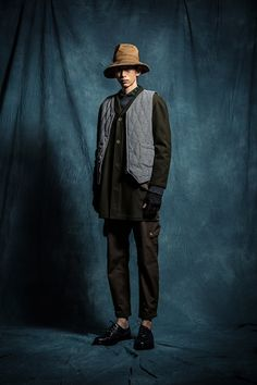 1S02 Long Work LS Shirt ft. Ferment/1T02 Knitted Sweater/1V02 Woolen Cotton Vest/1O05 Pocket Shop Coat/1P03 Army Zip Pants/1A02 banded Fisherman Hat/1A06 Knitted Gloves/1B01 Brogue Boots ft. Chenjingkai
