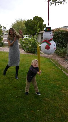 gender reveal party ideas gender reveal with a snowman pinata