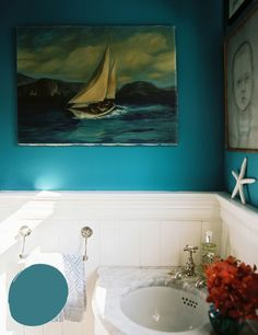 Lonny Mag calls this color Calypso Blue, but Benjamin Moore. Not so sure about that though. And Ben Moore ain't so great.