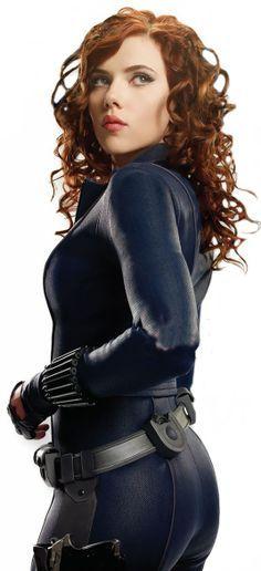 Con este traje y cabello me encanta. Scarlett Johansson - Black Widow in The Avengers. Hero!
