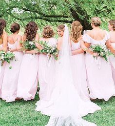 Pretty in Powder! These mixed & matched their favorite powder styles for one beautiful look Amsale Bridesmaid, Bridesmaid Dresses, Pink Bridesmaids, Wedding Dresses, Pink Wedding Colors, Timeless Beauty, Bridal Collection, Bridal Gowns, Real Weddings