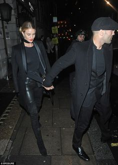 Sweet: The couple were pictured leaving Nobu restaurant after a night out together on January 30