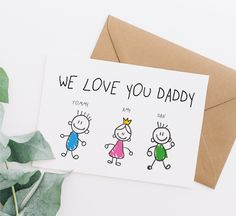 We love you daddy card, father's day card, fathers day card, personalised card fathers day, dad birthday card, birthday card for dad, fd47 Daddy Birthday Card, Birthday Cards For Boyfriend, Kids Birthday Cards, Bridesmaid Proposal Cards, Be My Bridesmaid Cards, Funny Greetings, Funny Greeting Cards, Funny Fathers Day Card, Hand Drawn Cards