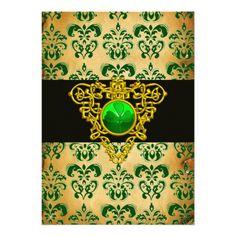ST. PATRICKS CELTIC HEART Green Damask Parchment Custom Invitations