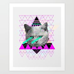 #spacecat #cat #laser #triangle #collage #art Collect your choice of gallery quality Giclée, or fine art prints custom trimmed by hand in a variety of sizes with a white border for framing.