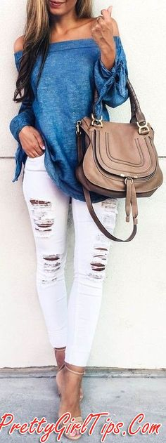 @prettygirltips Blue Off The Shoulder Top White Ripped Denim