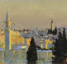 Andrew Gifford - Towards Damascus Gate - Oil on panel 10 x 10¼ ins (25.40 x 26.04 cms)