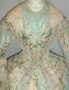 Enchanting 1860's Warp Floral Print Silk Dress | eBay