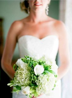 stunning green & white bouquet with hydrangeas and roses