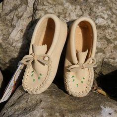 Baby Soft Sole Genuine Moosehide Leather Moccasin Slippers for Sale - 4337-B