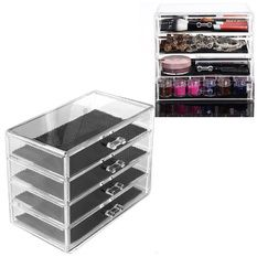 Vococal 4 Layers Clear Cosmetic Drawers Jewelry Makeup Storage Display Organizer Box Make up Brush Eyeshadow Nail Varnish Polish Case Container Stand Holder Rack for Mac Dior Estee Lauder Clinique