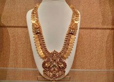 Gold Antique Lakshmi Kasumlai, Gold Antique Lakshmi Haar, Gold Long Coin Necklace Design.