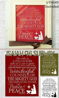 Printable Bible Subway Art #affiliate Isaiah 9:6 is one of my favorite verses about Jesus birth.  It would be great Christmas decor and it even comes in 3 colors, lots of different sizes, and you can download it instantly! #christmas decor #jesus #instant download #printable Isaiah 9 6, A Child Is Born, Birth Of Jesus, Subway Art, Christian Faith, Creative Gifts, Wedding Anniversary, Party Favors, Boy Or Girl