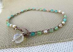 """Surfer Girl Anklet, """"Mermaid Jewels"""", Bohemian Crochet Jewelry"""