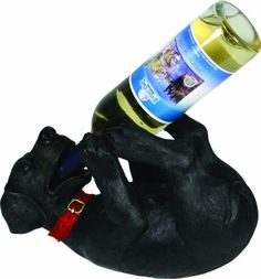 $20.10-$39.99 The Rivers Edge Black Lab wine bottle holder is the perfect accent to any dog lover's décor.  This beautifully hand painted piece features amazing detail and is without a doubt one of our top selling items.  Each Lab not only holds a standard 750 mL wine bottle, but is also great for displaying whiskey, beer and other beverages.