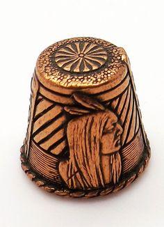 Grand Canyon Arizona souvenir copper thimble with native American indian motif