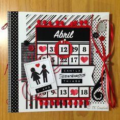Álbum de fotos romântico em scrapbook (visão geral da decoração da capa)