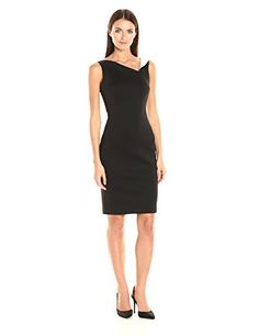 Calvin Klein Women's Sleeveless Scuba Sheath Dress with Color Blocked Neckline, Black/White, 4 >>> This is an Amazon Associate's Pin. Want additional info? Click on this Amazon Affiliate link.