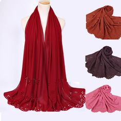 59ac7e403 2017 solid color hollowed out plain stylish muslim hijab with pearl chiffon  scarf arab hijab laser cut scarf