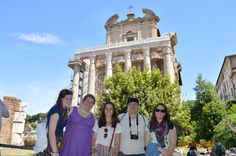 In front of the ancient Roman Temple of Antoninus and Faustina.