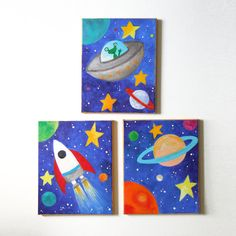 Kids Wall Art, SPACE ART SET, Set of 3 8x10 acrylic canvases, Space themed children's decor, nursery art