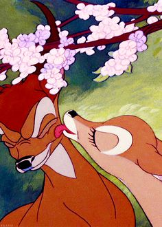 Bambi is probably one of the greatest love stories. Bambi is FOR SURE one of the greatest love stories! Disney Pixar, Walt Disney, Disney Animation, Cute Disney, Disney And Dreamworks, Disney Cartoons, Disney Magic, Disney Art, Disney Characters