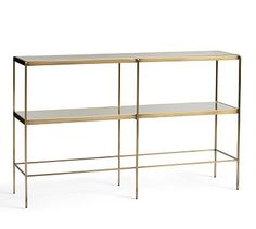 "Leona Console Table #potterybarn $499 48"" w x 12 deep x 30 high tempered glass top and mirrored shelf"
