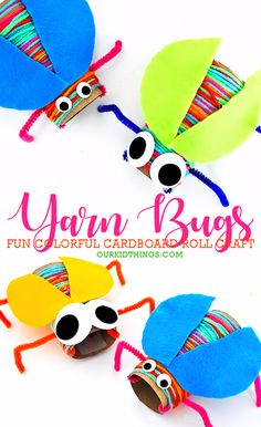 Cardboard Roll Yarn Wrapped Bugs Craft is part of Paper plate crafts for kids - Our Cardboard Roll Yarn Wrapped Bugs Craft are the best kind of bugs They're colorful, they're googly eyed, and they can't really fly My kind of bug Fun Crafts For Kids, Summer Crafts, Toddler Crafts, Preschool Crafts, Art For Kids, Preschool Science, Kid Science, Science Activities, Dinosaurs Preschool