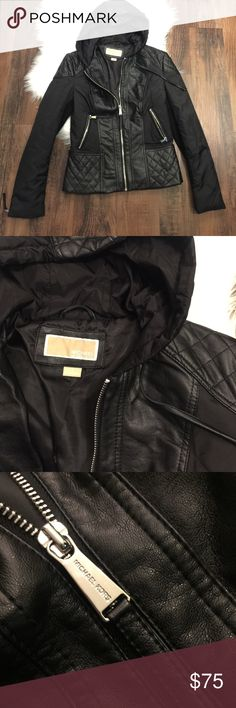 Michael Kors Hooded Quilted Jacket Michael Kors Hooded Quilted vegan leather jacket.  Excellent condition.  Two side pockets with zip.  Zipper closure.  Weather proof.  Bin A4. MICHAEL Michael Kors Jackets & Coats