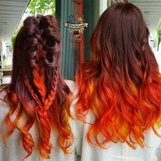 Hairstyles For Long Hair Looking for a unique ombre hair color ideas? We've got you covered. Head over our site to see 15 awesome hairstyles. Orange Ombre Hair, Ombre Hair Color, Brown Hair Orange Tips, Brown Hair Orange Ombre, Ombre Hair Rainbow, Dyed Hair Ombre, Red Ombre, Orange Yellow, Diy Hairstyles