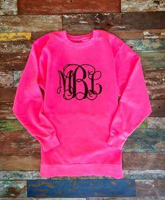 Glitter Monogrammed Neon Pink Sweatshirt, Glitter Monogram Sweat shirt, Pullover, Sweat Shirt, Monogrammed Christmas gifts by PoshPrincessBows1 on Etsy