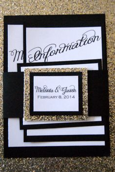 Black and Gold #Glitter Wedding Invitation Suite by ParteeofFour, $5.75 #2014weddingtrends
