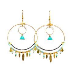 Boucles d'oreille créole doré, perle et triangle turquoise, chaîne bille noire