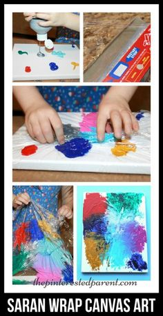 Saran Wrap Canvas Art Canvas painting with Saran Wrap adds a little texture with lines & peaks to you abstract painting & it is fun for the kids. Kids Canvas Art, Canvas Crafts, Diy Canvas, Canvas Paintings For Kids, Canvas Painting Projects, Art Kids, Canvas Ideas, Art Paintings, Projects For Kids