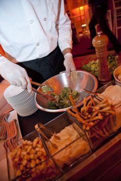Performance Cart Caesar salad tableside. #catering #weddings www.feastivitiesevents.com