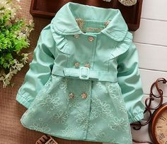 Mintgreen Trench Coats for Little Girls 2t,3t,4t Mint Green Winter Trench Coats…