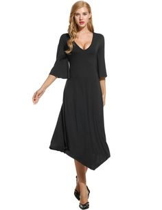 Black New Women Sexy V-Neck Flare Sleeve Asymmetrical Hem Solid Loose Casual Dresses
