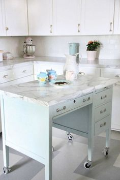 8 Fun Things You Can Repurpose Into Kitchen Islands. Looking for ideas for kitchen island remodels or redesign ideas for your renovation? These DIY ideas are perfect for all kinds of kitchens -- small or large -- with seating or without! Ideas for all styles - even farmhouse.