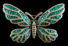 Black Gold Yellow Fancy Diamond Emerald Butterfly Pin - Yafa