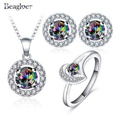Glamorous Rainbow Mystic Cubic Zircon Silver Color Jewelry Sets Earrings Pendant Ring Women Party